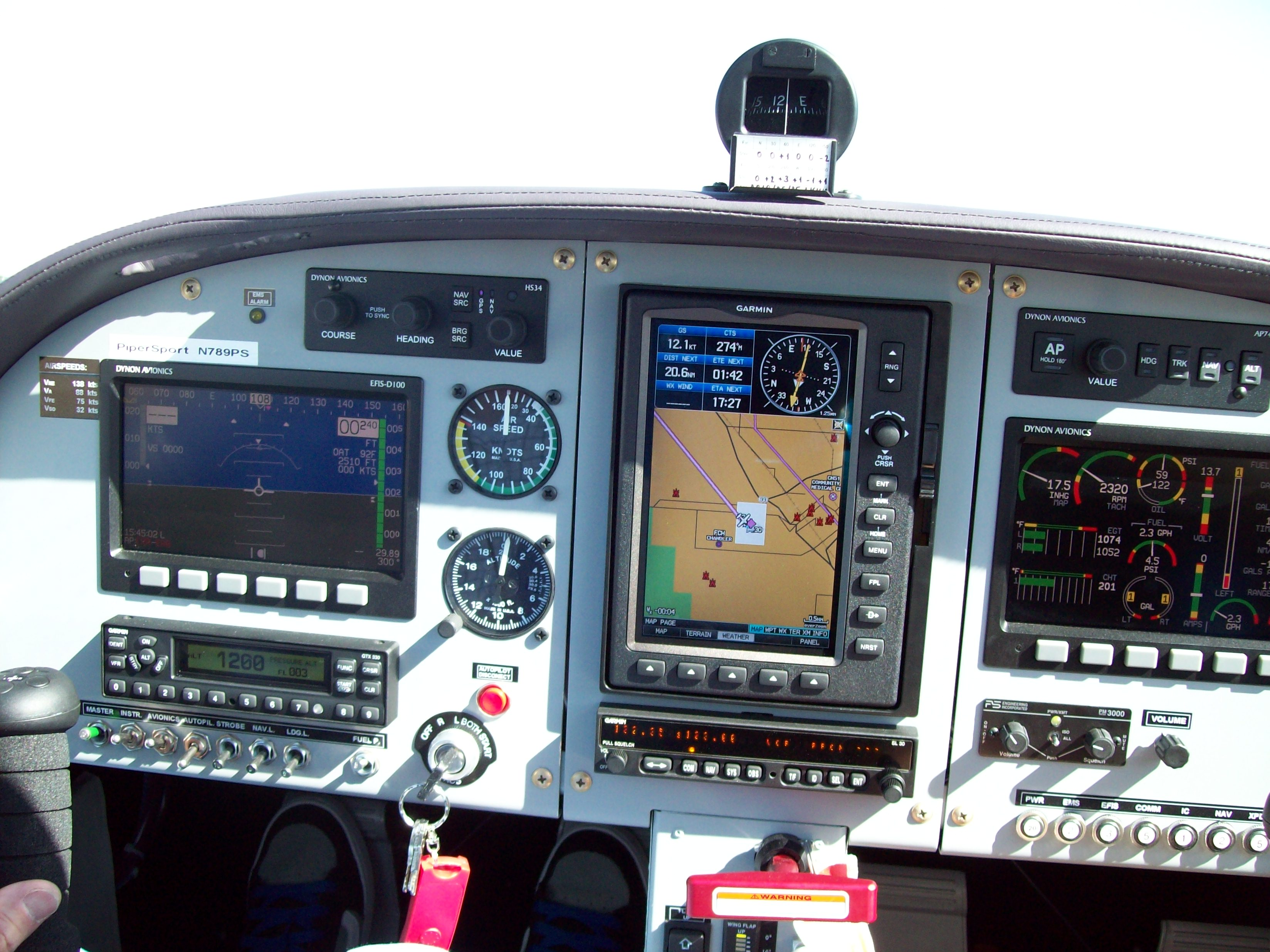 PiperSport Glass Panel with Dynon EFIS/EMS/HS34/Autopilot and Garmin GTX 330 and 696 GPSMAP